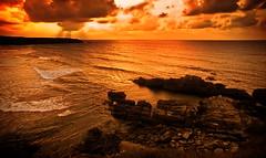 [フリー画像] [自然風景] [海の風景] [海岸の風景] [夕日/夕焼け/夕暮れ] [スペイン風景]      [フリー素材]