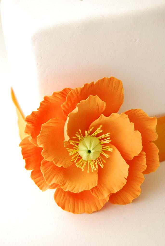 LARGE POPPY CLAY FLOWER CAKE TOPPER