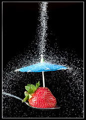 Sugar-Free (67 of 365) (lighthack) Tags: wallpaper water rain fruit umbrella strawberry shiny sweet 85mm spoon sugar sugarfree project365 nikkor85mmf14d strobist