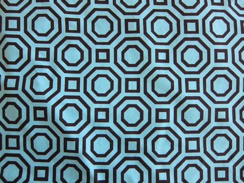 Turquoise and brown modern print quilting cotton