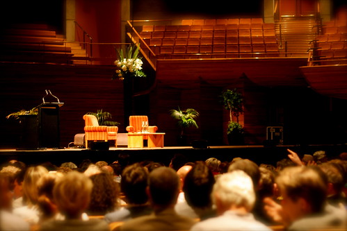 Wednesday: Two chairs and a lectern awaiting Richard Dawkins