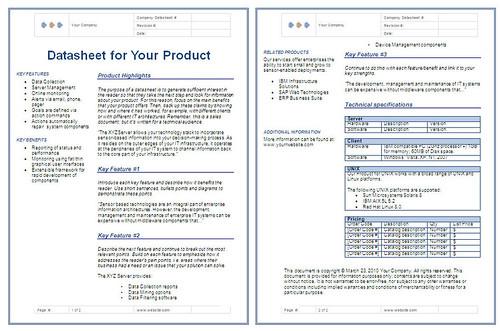 technical data sheet template