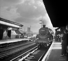 Steam commuter train at Sandhills Station, Liverpool (Oxendale-mac) Tags: railroad english monochrome station train liverpool mediumformat transport engine railway zug steam signals locomotive signal railways sandhills steamlocomotive 460 kirkdale passengertrain britishrailways merseyrail uksteam brstandard brsteam alltypesoftransport