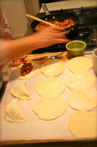 Empanada maker at work