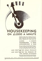 """Housekeeping on 1,000 a minute"" - advert for the Empire Marketing Board by Edward McKnight Kauffer, 1930 (mikeyashworth) Tags: graphicart typography advert typeface 1930 emb commercialart empiremarketingboard edwardmcknightkauffer pressadvert mikeashworthcollection"