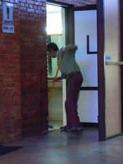 cleaning the bathroom at Kathmandu Airport (orclimber) Tags: nepal bathroom airport ktm cleaning kathmandu 2010 orclimber