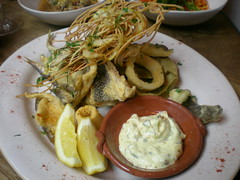 Fritto Misto 15.95 (tedesco57 -back from cruising Adriatic and Greece) Tags: uk restaurant jamie oliver bass surrey kingston anchovies misto fritto calamare
