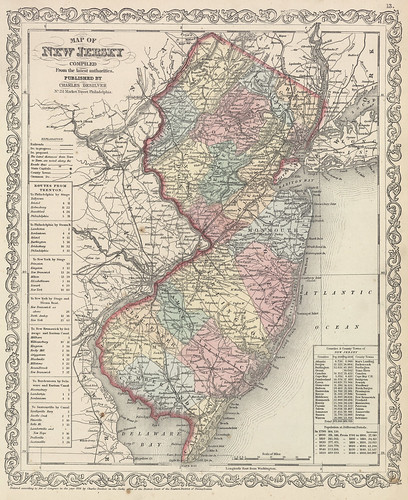map of new york state and new jersey. Map of New Jersey - 1857