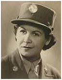 black and white photo of Carmen Contreras Bozak, WWII, in uniform