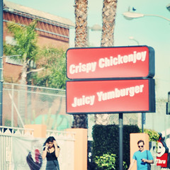 Crispy Juicy (CPMcGann) Tags: california sunlight sunshine sign walking square losangeles interesting nikon bluesky hollywood signage jollibee cellphones walkinginla toeachother plasticsign walktalk crispychickenjoy juicyyumberger missingpersons1982