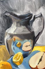 Reflective Study (Handwork Naturals) Tags: study meyerlemon asianpear reflection oil silver pitcher dailypainting sketch citrus fruit shiny love that asian pear edenscovillehart