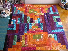 Log Cabin Blocks small quilt top designed, pieced by Janie 2016 (crazyvictoriana) Tags: modern small quilt logcabin liberated blocks orange improvised