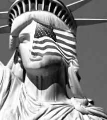 Our Lady in Black and White (floralgal) Tags: statueofliberty ladyliberty america godblessamerica freedom statueoflibertywearingamericanflag blackandwhite statueoflibertyinblackandwhite americanflag newyorkcity manhattan nyc hudsonriver statenislandferry americanfreedom giftfromfrance flag patriotic
