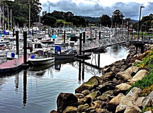 santa cruz harbor santacruz cloudy boats california