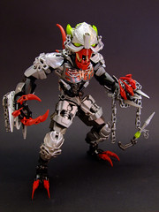 Yargool the Ripper (Djokson) Tags: bionicle lego moc toy model djokson red silver steel demon monster goblin armor warrior chains yoyopiraka