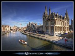 Graslei, Gent - Belgium :: Vertorama (Erroba) Tags: city blue sky sun water photoshop canon river rebel boat belgium belgique tripod belgië sigma tips remote 1020mm erlend ghent gent hdr graslei leie cs3 3xp photomatix tonemapped tonemapping xti 400d vertorama erroba robaye erlendrobaye