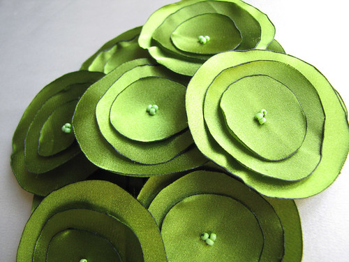 Apple Green Satin Flowers
