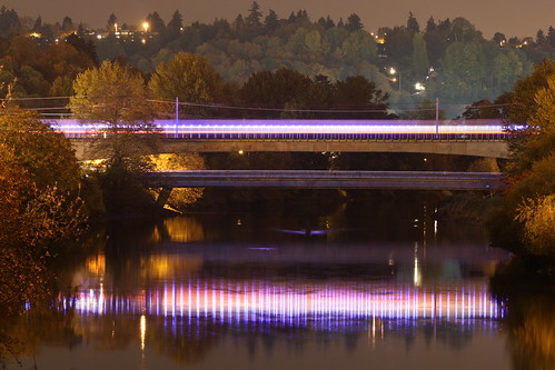 Blue Lights Over Duwamish, With Train by Atomic Taco