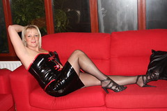 Chill before the night out !! (shotzphotography) Tags: red black sexy wet stockings look leather fetish chains high bed kiss shiny highheels boots bend fishnet rubber lips blow thigh blonde wife heels latex corset shorts redlipstick doggy lipstick tight suspenders tart miniskirt milf basque zip kinky pvc slutty raunchy hotpants thighboots laceup shotzphotography
