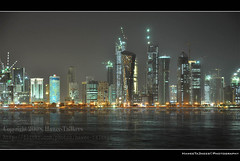 Qatar Corniche @ Night 'The Towers' 2,    - ({ahradwani.com} Hawee Ta3kees- ) Tags: light stilllife black night photoshop reflections ali hassan 2009 doha qatar shutterspeed  slowexposure  d90    thetowers  18105mm nikond90  fromqatar    qataratnight nikond90club nikon18105mm hawee 18105mmlens   haweeta3kees  mygearandmepremium  ta3kees mygearandmebronze ahradwanicom ahradwani