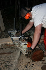 Facemask NOT up.  Bad Dominic. (ebacherdom) Tags: wood tree mill face grain chainsaw chain cutting fir lumber milling douglasfir stihl chainsawing chainsawlumbermaking