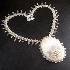 Pearl Princess Necklace (betty.stephan) Tags: white holiday gold bride necklace crystal ooak jewelry sparkle pearl beaded beadembroidery ebw bettystephan