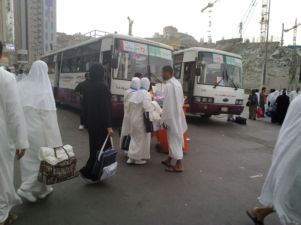 Hajj, Pilgrims, Mecca, Pilgrims prepare to depart to Mina