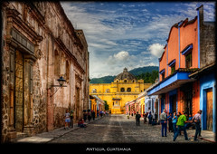 Antigua, Guatemala (szeke) Tags: 2005 street city urban mountain church clouds landscape place guatemala cobblestone antigua photomatix nikcolorefex imagenomic nikviveza