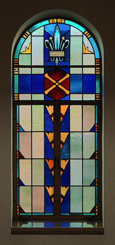 Saint Mary Roman Catholic Church, in Trenton, Illinois, USA - stained glass window with cross