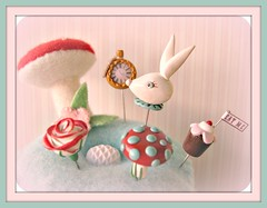 Alice in Wonderland Limited Edition Pin Topper Set (Pinks & Needles (used to be Gigi & Big Red)) Tags: red sculpture flower cute bunny art clock wool mushroom cake fairytale cherry miniature aqua blossom embroidery polymerclay polkadots cupcake tripper eatme handpainted kawaii teapot pincushion etsy limitededition herald hallucinogen aliceinwonderland pocketwatch preorder whiterabbit magicmushroom aiw painttherosesred gigiminor pinksandneedles pintopper pinksneedles sewingpin