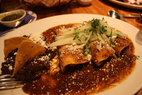 I got the Tuesday Special: Goat mole enchiladas, I think.