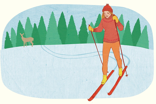 Cross country ski illustration