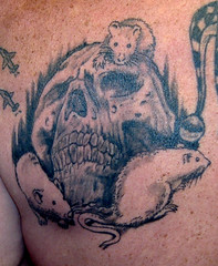 old but fun (Billy Whaley Tattoo) Tags: white black skull grey back scary rat evil whaley tattoobilly