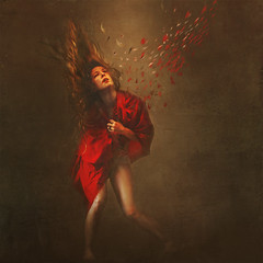 reimagining people (brookeshaden) Tags: red people fly paint pieces away torn disfigured reimagining brookeshaden