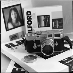 Old times, new times (Istvan Penzes) Tags: leica bw white black 6x6 ilford tabletop leicam3 fujiacros100 hasselblad503cw nikonsupercoolscan9000 makroplanar1204 sekonicl308s spurhrx3 penzes