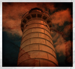 obsolete (Orbiting Sol) Tags: lighthouse tower texture photoshop elements layers oldprint pse8