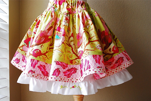 My Edith Twirl Skirt with Tula Pink's Plume