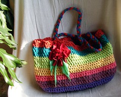 Crochet handbag made from T-shirt yarn (stiglice - Judit) Tags: bag colorful crochet tshirt yarn recycling handbag