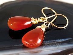 Nika -  Pumpkin Orange Smooth Chalcedony earrings in 14K Gold Filled (Arctida) Tags: autumn light sunset red orange brown fall yellow tangerine dark pumpkin gold dawn golden spring wire mod handmade harvest rusty wrapped sunny jewelry carrot translucent earrings minimalism buttery arctida