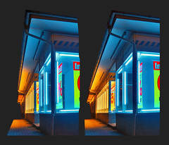 Neon Lights - Cross View Stereoscopic 3D (Stereotron) Tags: 3d 3dphoto 3dstereo 3rddimension spatial stereo stereo3d stereophoto stereophotography stereoscopic stereoscopy stereotron threedimensional stereoview stereophotomaker stereophotograph 3dpicture 3dglasses 3dimage crosseye crosseyed crossview xview cross eye squint squinting freeview canon ixus960 sdm stereodatamaker tonemapping hdr hdri longexposure bracketing quietearth europe germany saxony plattenbau 60s 1960s gdr architecture monkeyisland colors neonlights neon neontube neonglowlamp thebestofhdr 532 orange blue catchycolors 627 734 926092010 963092010 1004102010 chdk ixus 960 visualart sidebyside sbs kreuzblick 100v10f