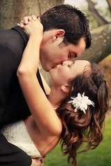 Kathryn and brent (Ashley Hylton Photography) Tags: family wedding woman man tree love grass groom bride kiss marriage kisses husband reception wife weddingday dip firstkiss