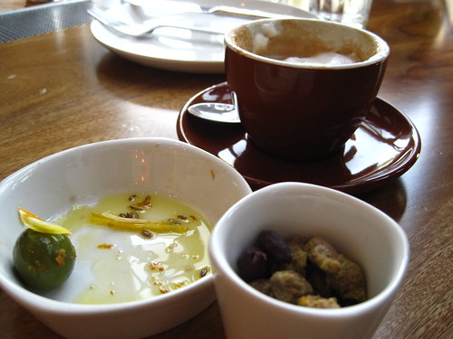 Coffee and olives before pizza