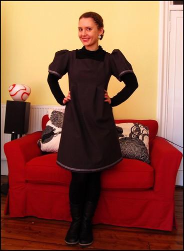 27.3.10: custom made grey dress, outfit fashion clothes dress handmade etsy grey black