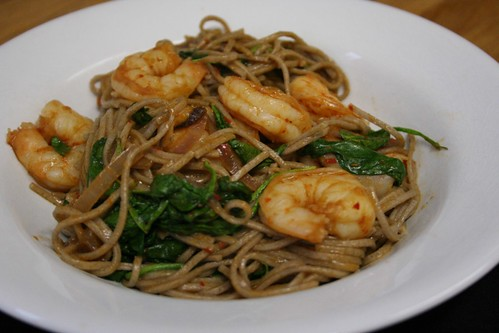 Spicy shrimp with buckwheat soba noodles