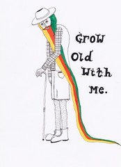 Grow old with me (Maddie Joyce) Tags: old red hairy man green art love yellow illustration beard this is ancient friendship drawing good magic grow next level shorts farmer colourful themagicbus wwwthemagicbuscollectivecom maddiejoyce