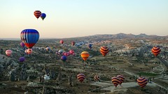 Hot air balloon (burrnnsss) Tags: travel color colors face sunrise turkey book flying flickr colours hotair balloon flight hotairballoon cappadocia goreme fairychimney fairychimneys kappadoka
