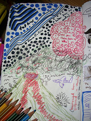 Left Page - Scribble widly using only borrowed pens - (Page 94&95)