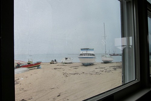 View of the beach from our table