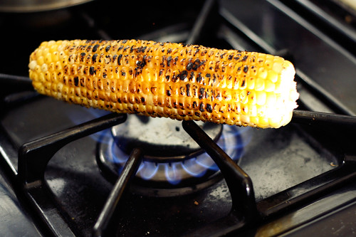 Grilled Corn for Cold Avocado Corn Soup with Cilantro Oil