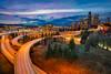 Seattle sunset (rowbinskee) Tags: seattle sunset lighttrail longexposure safeco bridge lighttrails sonyalpha